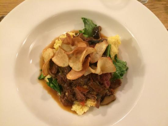 Evergreen Lodge at Yosemite Restaurant : Oxtail on Polenta -- a New Years eve Entree