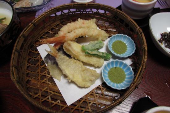 Kaieikan Shachitei : 夕食、エビ・キス・野菜のてんぷら