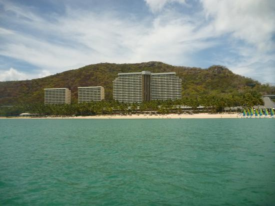 Beach Club: View of hotel (lower beach front building) from Paddleboarding