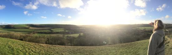 View from the climb up the hill of Cerne Abbas