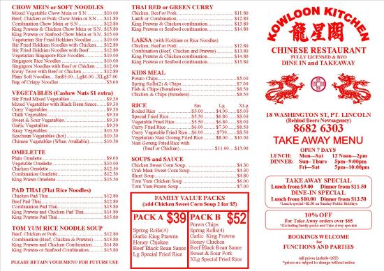 Menu Page 1 - Picture of Kowloon Kitchen, Port Lincoln ...