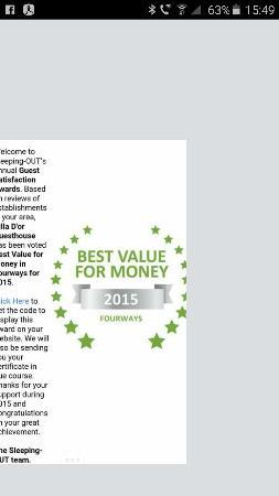 Villa Dor Guest House voted Best Establishment in Fourways 2015 and Best Value for money 2015