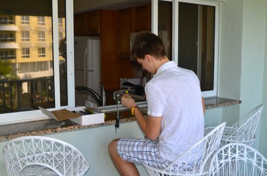 Calini Beach Club: My son enjoyed sitting on the balcony tying his flies.  This became his spot.