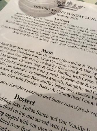 Boroughbridge, UK: Sunday lunch menu