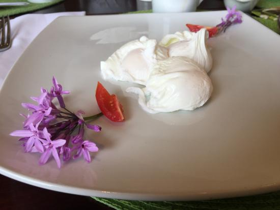 Beautifully presented poached egg breakfast Franschhoek Country House & Villas