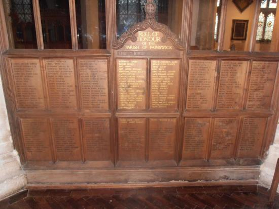 Painswick, UK: the great war memorial inside a chapel