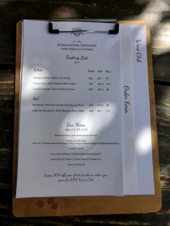 Forestville, CA: Wine tasting menu