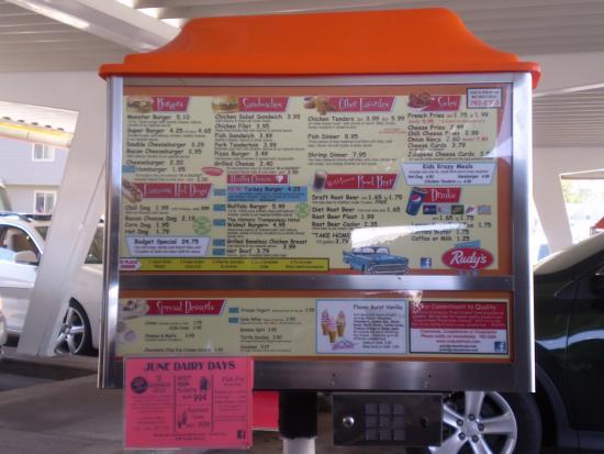 Rudy's Drive In Restaurant: Menu