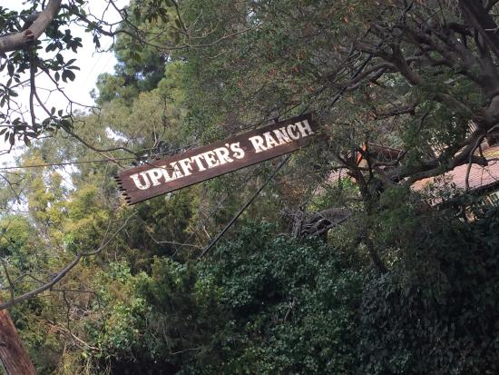 Rustic Canyon Park Uplifters Ranch Sign On Street At Entrance To Parking Lot