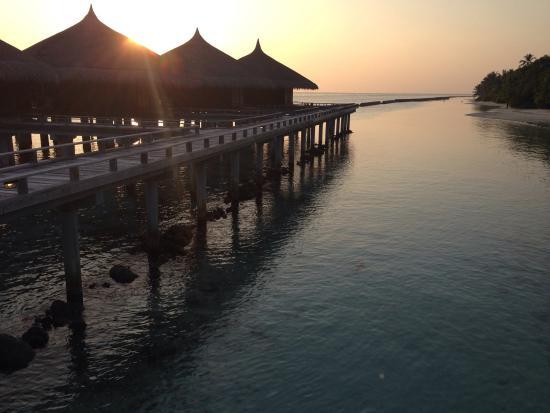 Kuramathi Island Resort: couché de soleil sur les pilotis