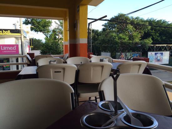 Sitting inside El Fogon on the second level