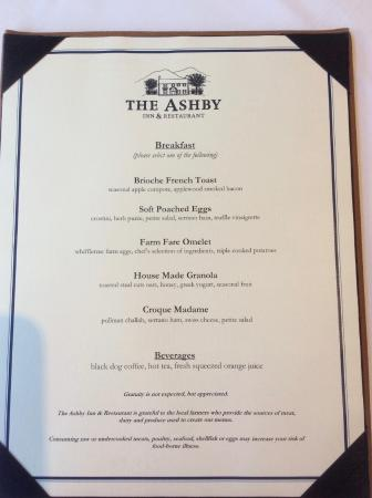 Paris, VA: Menu