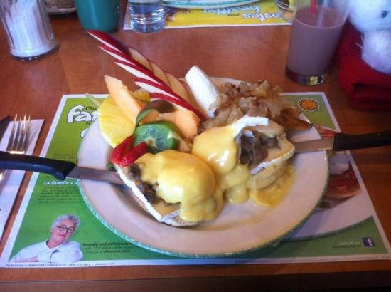 New Minas, Canada: Eggs Benedict with Brie Cheese and Mushrooms