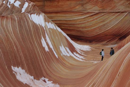 ‪‪The Wave at Coyote Buttes‬: 冬は雪があり水たまりは完全に凍っています‬