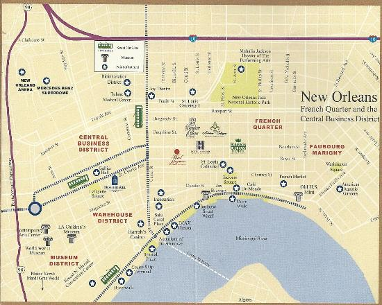 French Quarter New Orleans Map French Quarter map   Picture of Hotel Mazarin, New Orleans