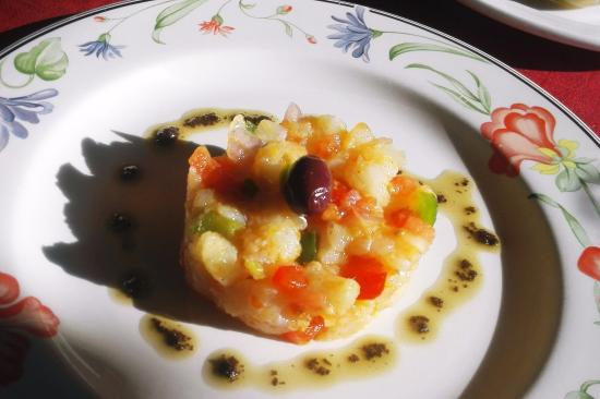 Monells, España: Escabeche of cod, olives & peppers