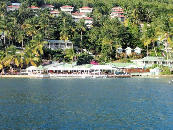 Marigot Beach Club and Dive Resort: View from our boat