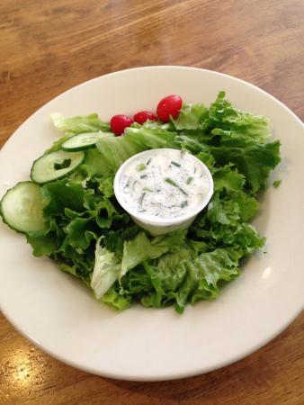 Lampasas, TX: Green salad with schnitzel