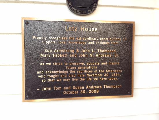 Lotz House Museum: sign