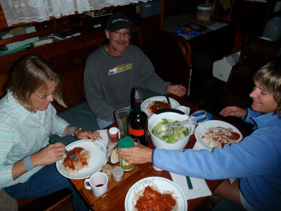 Southwest Harbor, ME: Eating dinner after an amazing sail