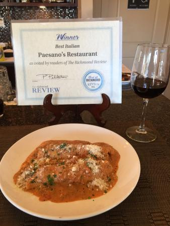 Paesano's: Cannelloni with meat sauce w/ a glass Merlot