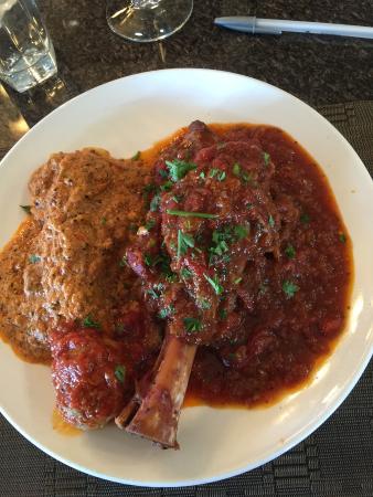 Paesano's: Lamb Shank Ossobuco, 1 cannelloni and 1 meatball