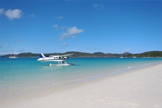 Whitehaven Beach: Beach view with seaplane