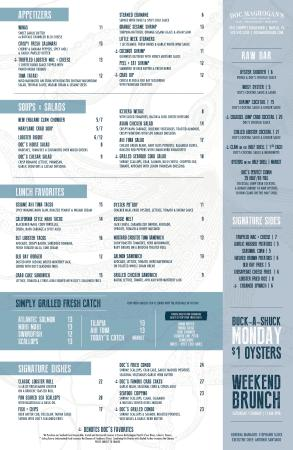 Doc Magrogan's Oyster House : LUNCH Menu as of 01/2016