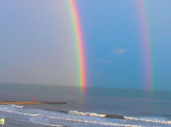 Galveston Island, TX: Double Rainbow in Galveston, TX