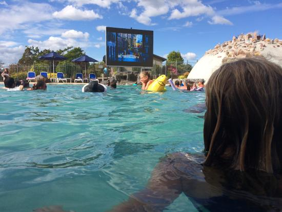 Lake Taupo TOP 10 Holiday Resort: The view of the big screen from the pool bar