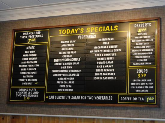 Blythewood, Caroline du Sud : Menu Board for January 3, 2016