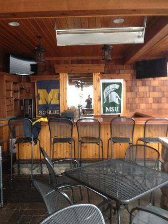 Suttons Bay, MI: Getting ready for M vs. MSU Patio Tailgate