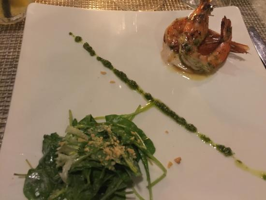Azure Restaurant: Third Course - Grilled Kauai Prawns