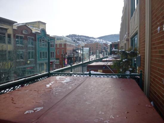 The Caledonian: view of Main St. from hot tub balcony