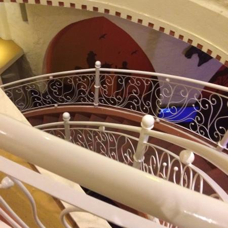 Staircase leading to the restaurant