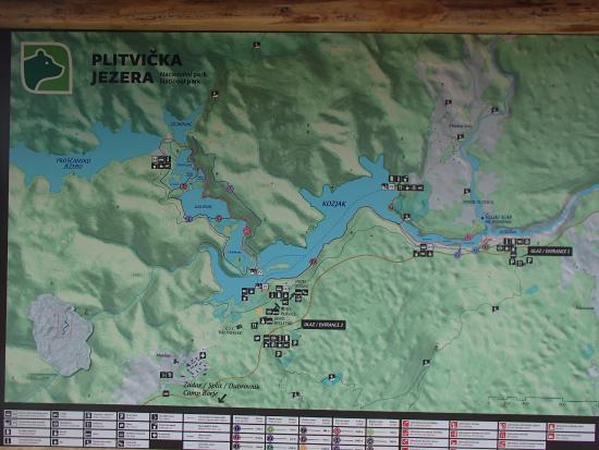 Map of Lakes  Picture of Plitvice Lakes National Park Plitvice