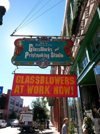 New Orleans Glassworks & Printmaking Studio: storefront signage