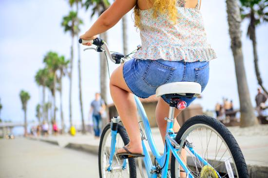 Biking along The Strand in Oceanside, CA