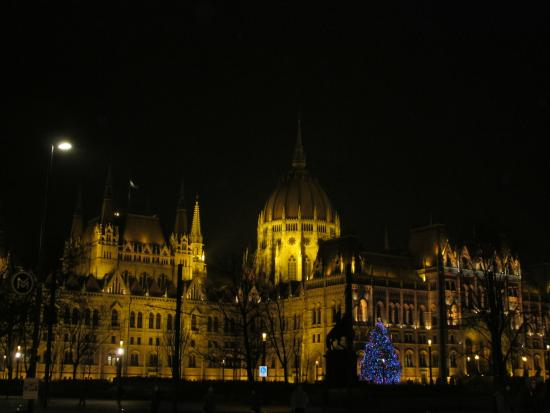 Parlamento: Night view of the Parliament in December