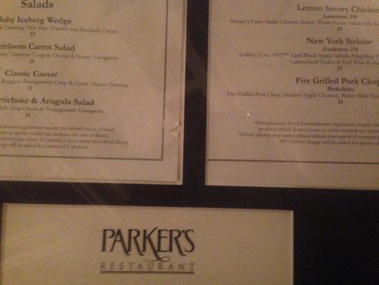 Parker's Restaurant: menu