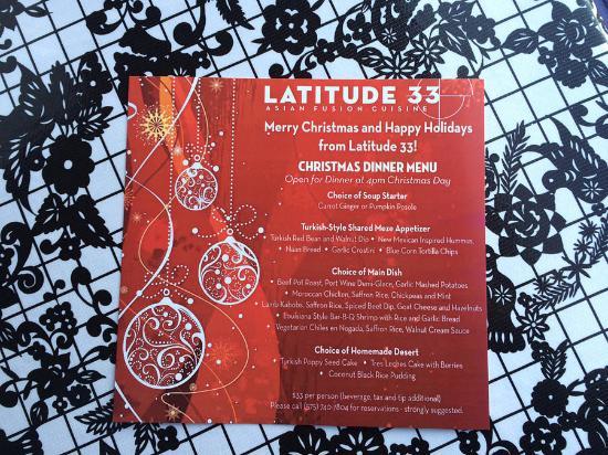 Latitude 33 : Christmas Menu