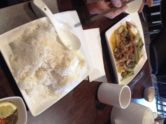 Basil House: Chilli and lemongrass beef with a side of rice... Yum!