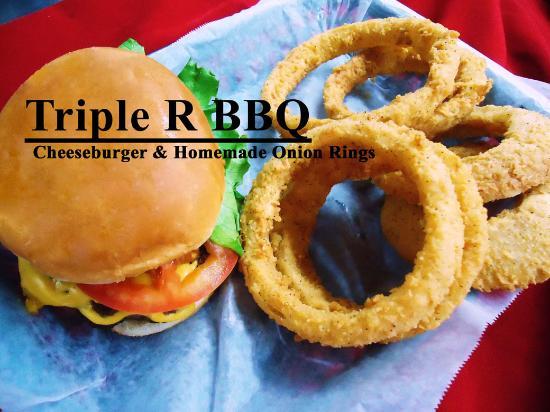Scottsboro, AL: Triple R BBQ Homemade Onion Rings & CHeeseBurger