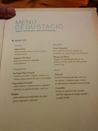 Men degustaci n fotograf a de ikibana restaurant for Ikibana menu barcelona