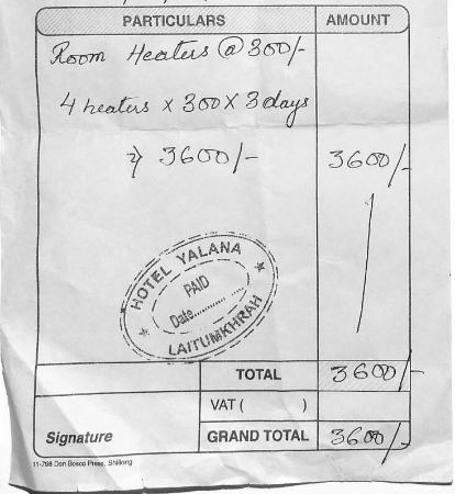 Hotel Yalana : Bill for Hand Warmers given as Room heaters