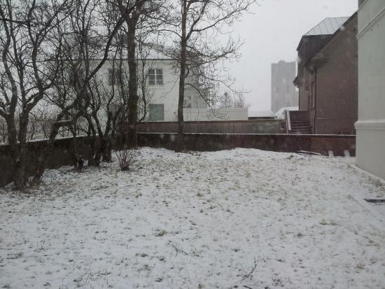 32 Tungata: View from kitchen window - with snow.