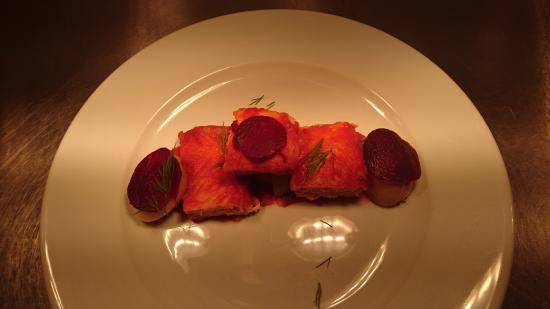 Caersws, UK: beetroot salmon