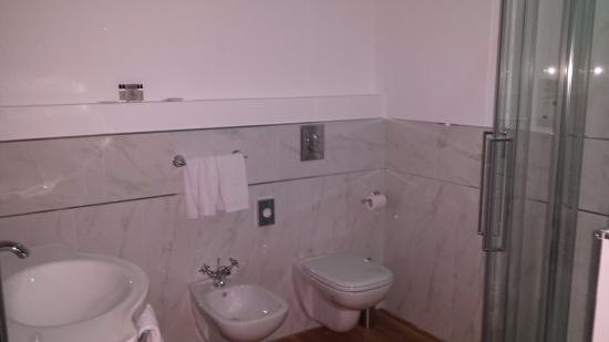Brand new bathroom with shampoo, shower gel, body lotion, nail filer, shower cap, q tips provide
