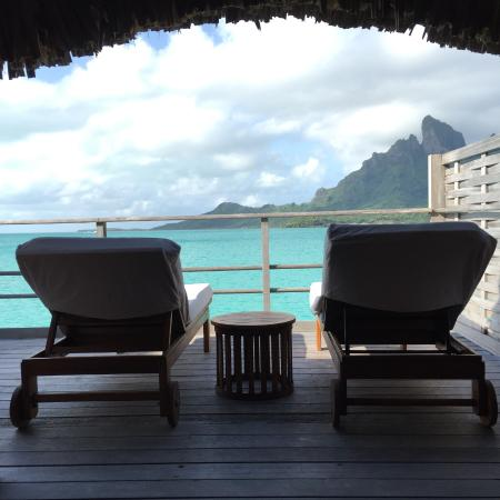 Four Seasons Resort Bora Bora: view of terrace from room