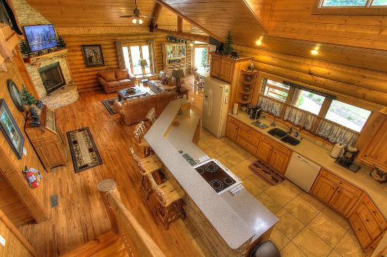 Creekside Lodge Spacious Open Floor Plan Picture of Cedar Falls – Log Home Open Floor Plans